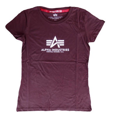 Alpha Industries T-Shirt New Basic T Women XS Deep Maroon